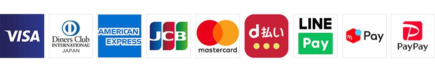 VISA DinersClub AMEX JCB mastercard paypay